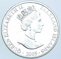 FALKLAND ISLANDS SILVER PROOF CROWN 2005 COIN AFDC
