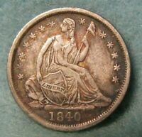 1840 SEATED LIBERTY SILVER HALF DIME XF   US COIN