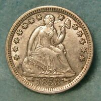 1853 SEATED LIBERTY SILVER HALF DIME XF AU    US COIN
