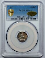 1847 H10C SEATED LIBERTY HALF DIME - PCGS/CAC MINT STATE 64 - GOLD CAC STICKER