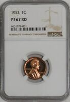 1952 LINCOLN CENT 1C PF67 RD NGC  942030-5