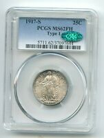 1917 S STANDING LIBERTY QUARTER TYPE 1 MS 62 FH PCGS & CAC
