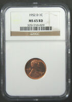 1952-D 1C NGC MINT STATE 65 RD. BEAUTIFUL GEM RED LINCOLN CENT. 1019033