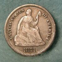 1871 SEATED LIBERTY SILVER HALF DIME   US COIN