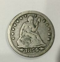 1854 O ARROWS AT DATE NEW ORLEANS   QUARTER DOLLAR 25 CENTS CIRCULATED  COIN