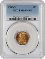 1948-S 1C PCGS MINT STATE 67 RD - SATINY, RED GEM - LINCOLN CENT - SATINY, RED GEM