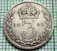 GREAT BRITAIN QUEEN VICTORIA 1891 3 PENCE THREEPENCE SILVER