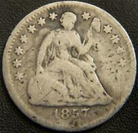 1857 SEATED LIBERTY HALF DIME   ALL MAJOR DETAILS ARE DISTIN