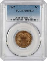 1867 2C PCGS PR 65 RD - 2-CENT PIECE - , LOW MINTAGE ISSUE