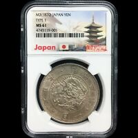 JAPAN MEIJI  1867 1912  YEAR 3  1870  1 YEN SILVER COIN  TYP