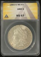 1883-P $1 MORGAN SILVER DOLLAR ANACS SLAB MINT STATE 63 UNDERRATED DATE