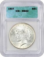 1927 $1 ICG MINT STATE 62 - LOW MINTAGE DATE - PEACE SILVER DOLLAR - LOW MINTAGE DATE