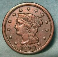 1846 BRAIDED HAIR LARGE CENT VF DETAILS   US COIN