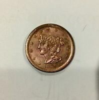 1851 USA HALF CENT 1/2 CENT NICE COIN SHARP AU DETAILS WAS CLEANED
