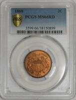 1868 TWO CENT 2C MINT STATE 66 RD SECURE PLUS PCGS  942038-6