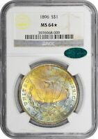 1896 NGC MINT STATE 64 STAR CAC MORGAN - VIBRANT COLOR TONES AND ARC - SPECIAL COIN