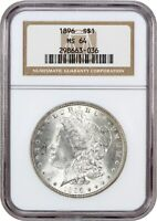1896 $1 NGC MINT STATE 64 - MORGAN SILVER DOLLAR