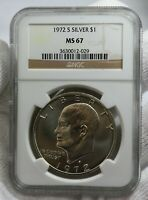 1972 S EISENHOWER IKE DOLLAR $1 NGC GRADED MS67 SILVER COIN