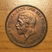 1936 GREAT BRITAIN PENNY GEORGE V KM 838 TONED A LOVELY LIGHT RED HUE UNC.