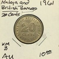 1961 MALAYA AND BRITISH BORNEO 20 CENTS ABOUT UNCIRCULATED CONDITION COIN KM 3