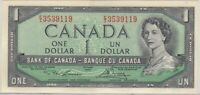 BANK OF CANADA 1954 BC 37D LAWSON BOUEY E/I3539119 ONE DOLLAR LAST SHORT PREFIX