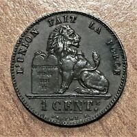 1899 BELGIUM CENTIME COIN LEOPOLD II LAST YEAR KM 33.1 XF