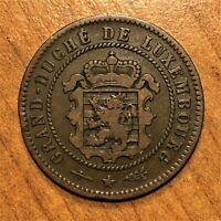 1854 LUXEMBOURG 5 CENTIMES COIN KM 22.1 F/VF