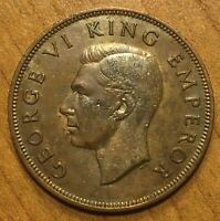 1942 NEW ZEALAND PENNY COIN KM 13 XF