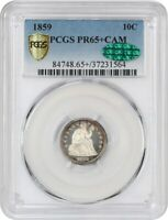 1859 10C PCGS/CAC PR 65 CAM - WOW GORGEOUS - SEATED LIBERTY DIME