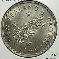 NEW ZEALAND CROWN 1949 ALMOST UNCIRCULATED .4546 OUNCE SILVE