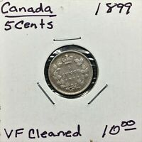 1899 CANADA 5 CENTS SILVER COIN QUEEN VICTORIA VF CLEANED
