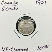 1901 CANADA 5 CENTS SILVER COIN QUEEN VICTORIA VF CLEANED