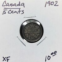 1902 CANADA 5 CENTS SILVER COIN KING EDWARD VII  XF  EXTRA FINE