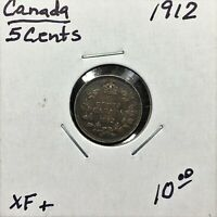 1912 CANADA 5 CENTS SILVER COIN KING GEORGE V XF