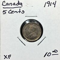 1914 CANADA 5 CENTS SILVER COIN KING GEORGE V XF