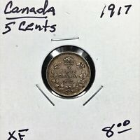 1917 CANADA 5 CENTS SILVER COIN KING GEORGE V XF