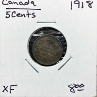 1918 CANADA 5 CENTS SILVER COIN KING GEORGE V XF