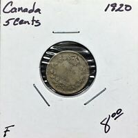 1920 CANADA 5 CENTS SILVER COIN KING GEORGE V F