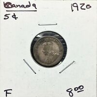 1920 CANADA 5 CENTS COIN SILVER KING GEORGE V F