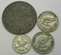 NEW ZEALAND 1 PENNY & 3 6 PENCE 1948/1951   4 COINS.   3220