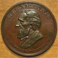 SIR ISAAC PITMAN 1813/1913 CENTENARY BRONZE MEDAL   INVENTOR OF PHONOGRAPHY