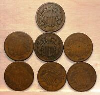 LOT OF  7  U.S. TWO CENT PIECES