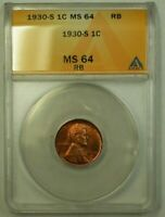 1930-S LINCOLN WHEAT CENT 1C ANACS MINT STATE 64 RB C WW