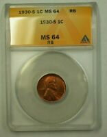 1930-S LINCOLN WHEAT CENT 1C ANACS MINT STATE 64 RB D WW