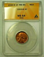 1930-S LINCOLN WHEAT CENT 1C ANACS MINT STATE 64 RED A WW