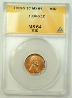1930-S LINCOLN WHEAT CENT 1C ANACS MINT STATE 64 RED D WW