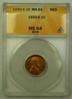 1930-S LINCOLN WHEAT CENT 1C ANACS MINT STATE 64 RED P WW