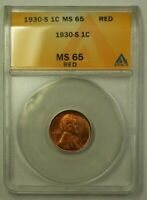 1930-S LINCOLN WHEAT CENT 1C ANACS MINT STATE 65 RED C WW