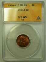 1930-S LINCOLN WHEAT CENT 1C ANACS MINT STATE 65 RB D WW