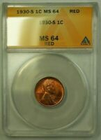 1930-S LINCOLN WHEAT CENT 1C ANACS MINT STATE 64 RED I WW